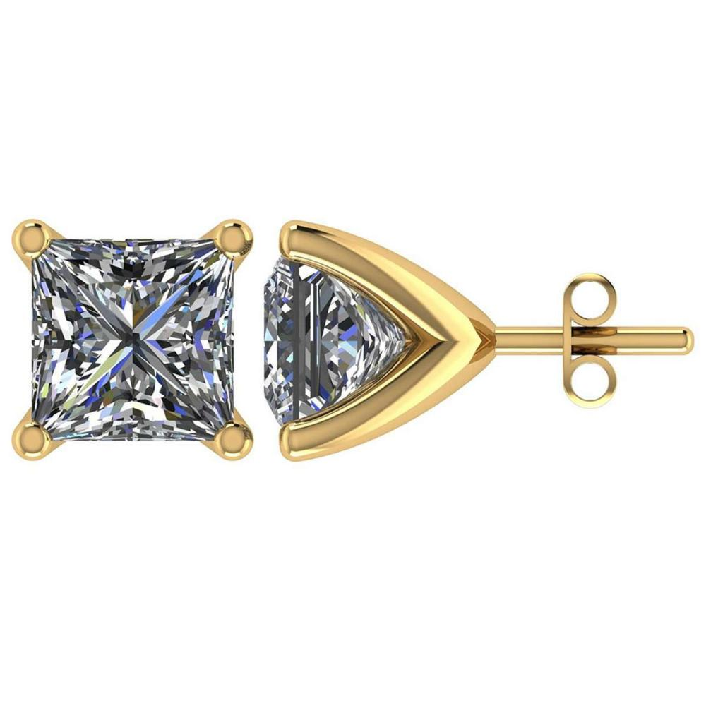 Certified 1.50 CTW Round Diamond 14K Yellow Gold Earring #PAPPS92096