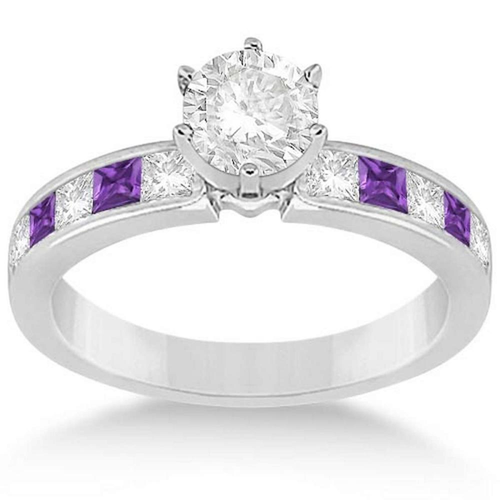 Channel Amethyst and Diamond Engagement Ring 14k White Gold (1.50ct) #PAPPS20860