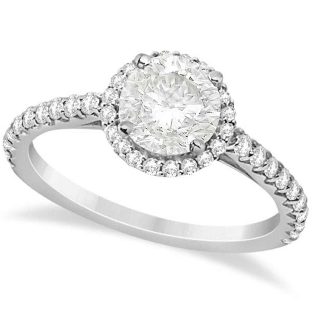 Halo Diamond Engagement Ring with Side Stone Accents 14K W. Gold 1.50ct #PAPPS20816