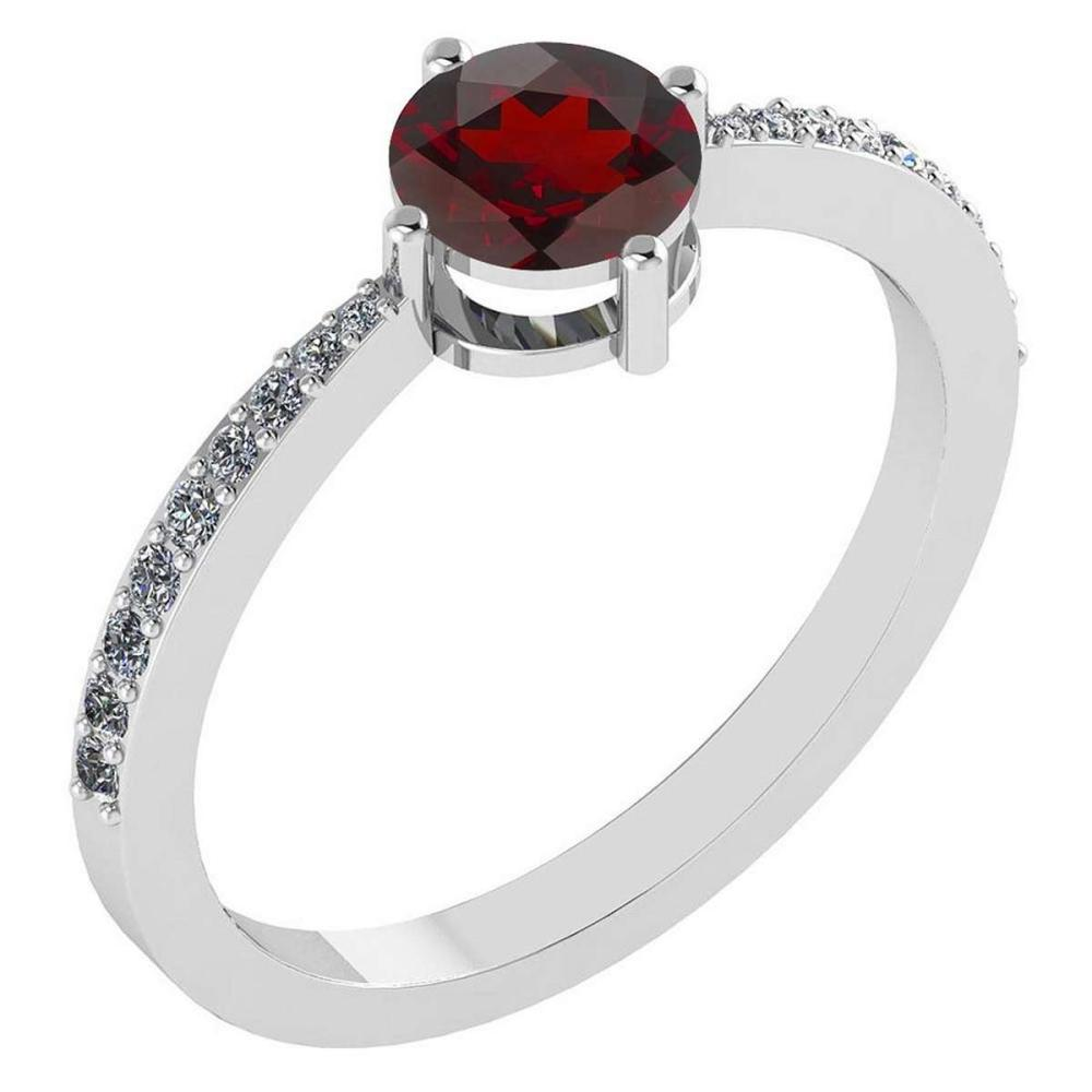 0.97 Ctw Garnet And Diamond 14k White Gold Halo Ring #PAPPS96850