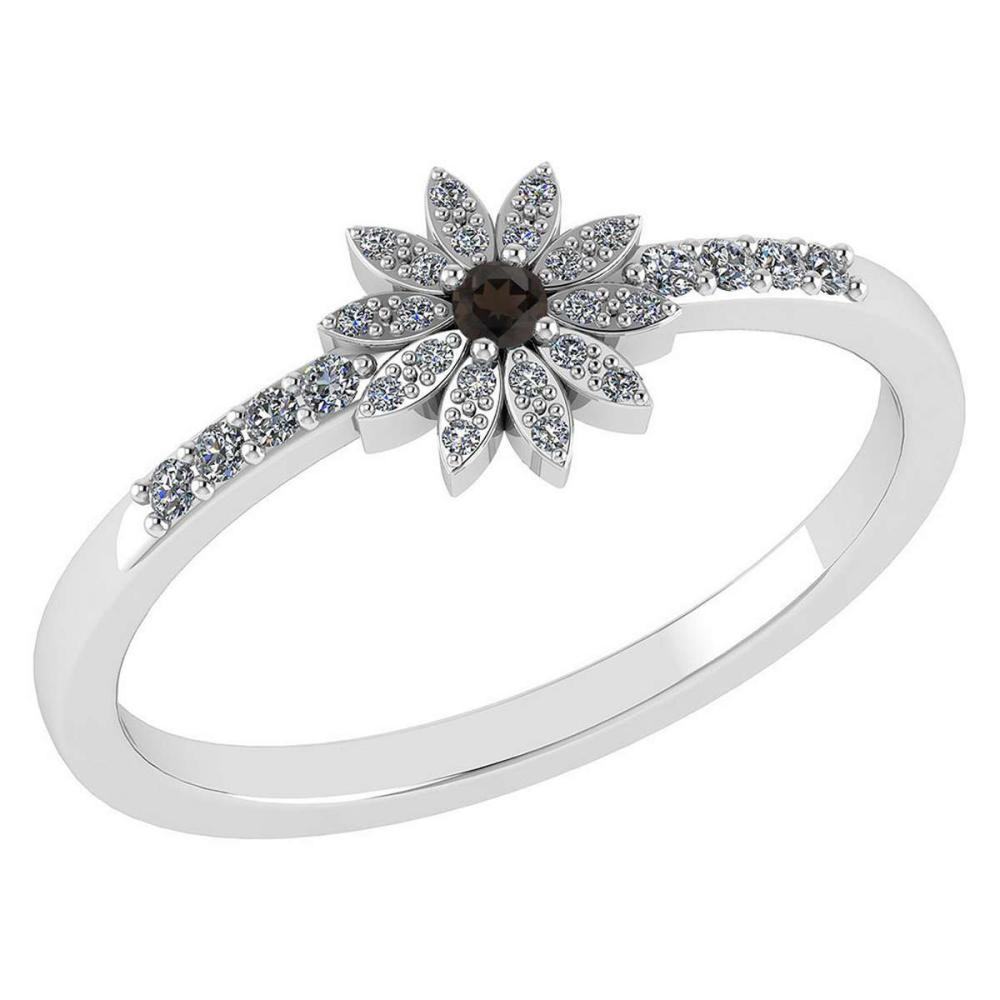 Certified .16 CTW Genuine Smoky And Diamond 14K White Gold Ring #PAPPS93536