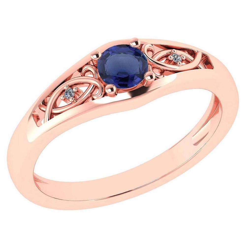 Certified 0.37 Ctw Blue Sapphire And Diamond 14k Rose Gold Halo Ring #PAPPS95469