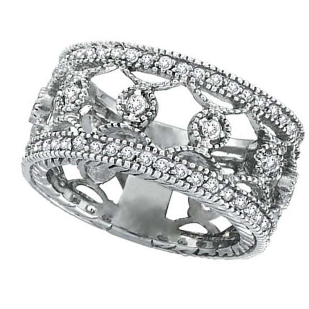 Antique Style Diamond Eternity Ring Wide Band 14k White Gold (0.75ct) #PAPPS20797