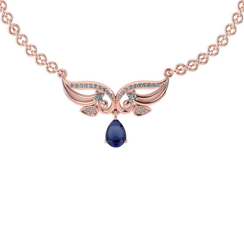 Certified 3.94 CTW Genuine Blue Sapphire And Diamond 14K Rose Gold Necklace #PAPPS93612