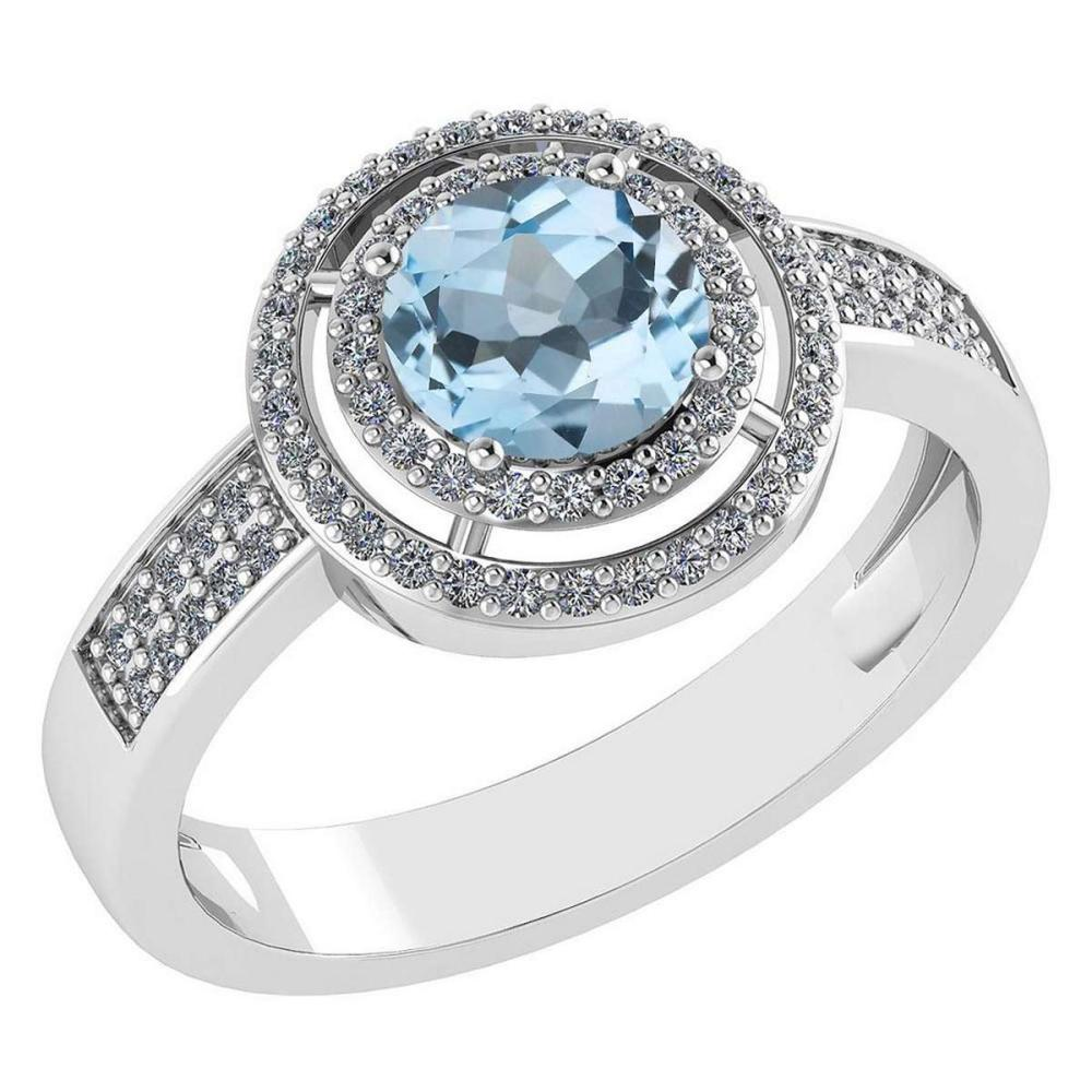 1.35 Ctw Aquamarine And Diamond 14k White Gold Halo Ring #PAPPS96860