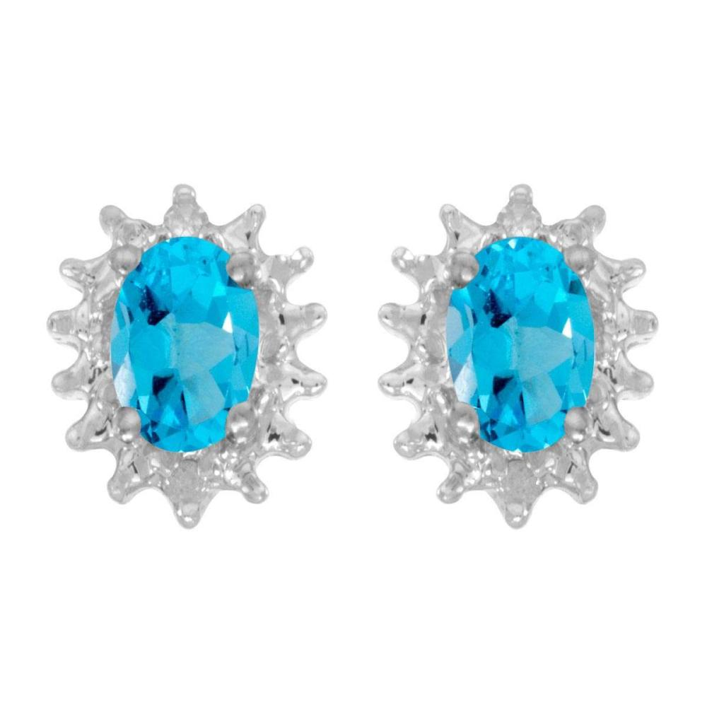Certified 14k White Gold Oval Blue Topaz And Diamond Earrings 0.84 CTW #PAPPS24967