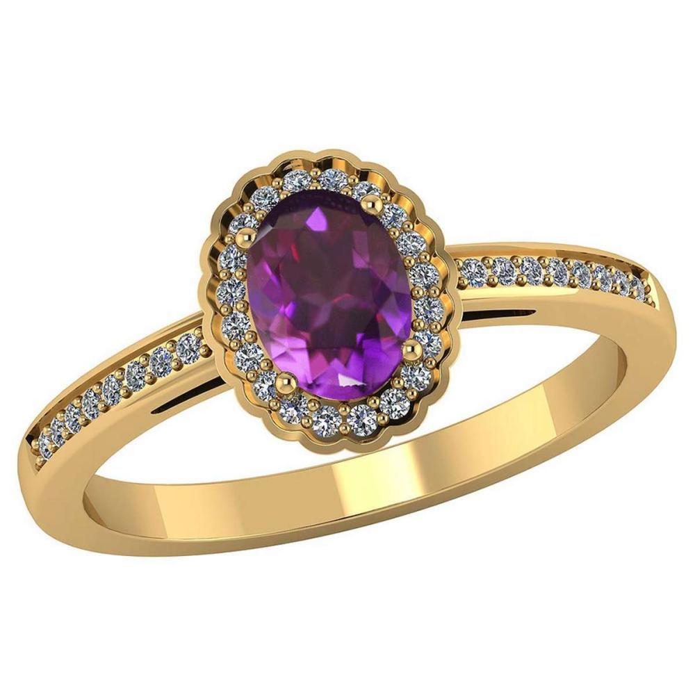 Certified 1.50 CTW Genuine Amethyst And Diamond 14K Yellow Gold Ring #PAPPS91887