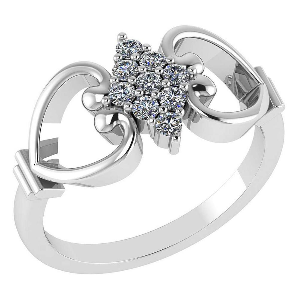 Certified .27 CTW Diamond Genuine 14K White Gold Simple Ring #PAPPS93464