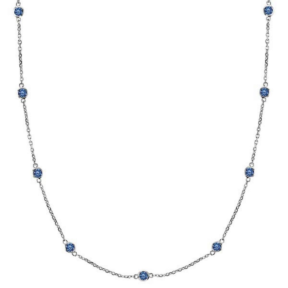 Fancy Blue Diamonds by The Yard Necklace 14k White Gold (2.00ct) #PAPPS21233