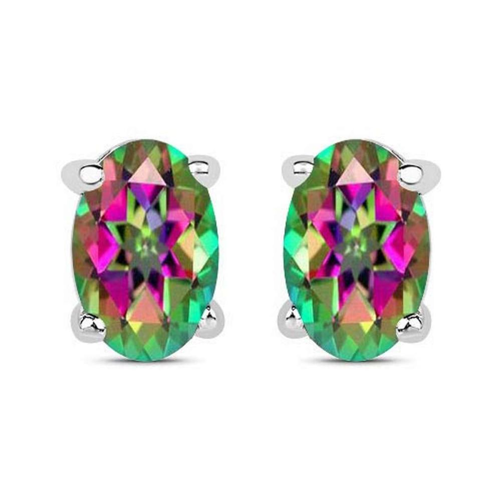 4.20 CTW Genuine Mystic Topaz And 14K WhiteGold Earrings #PAPPS91321