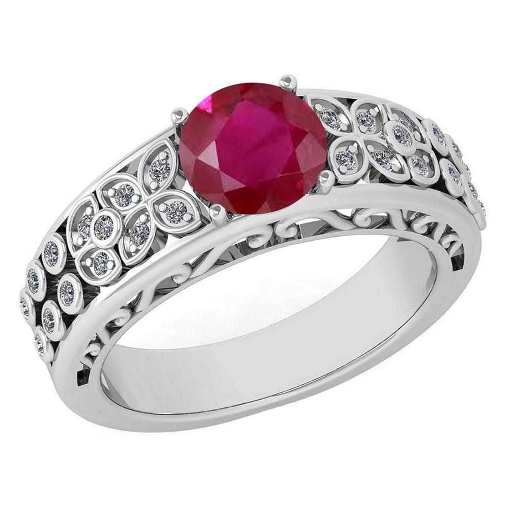 Certified 1.42 Ctw Ruby And Diamond Wedding/Engagement 14K White Gold Halo Ring #PAPPS16794