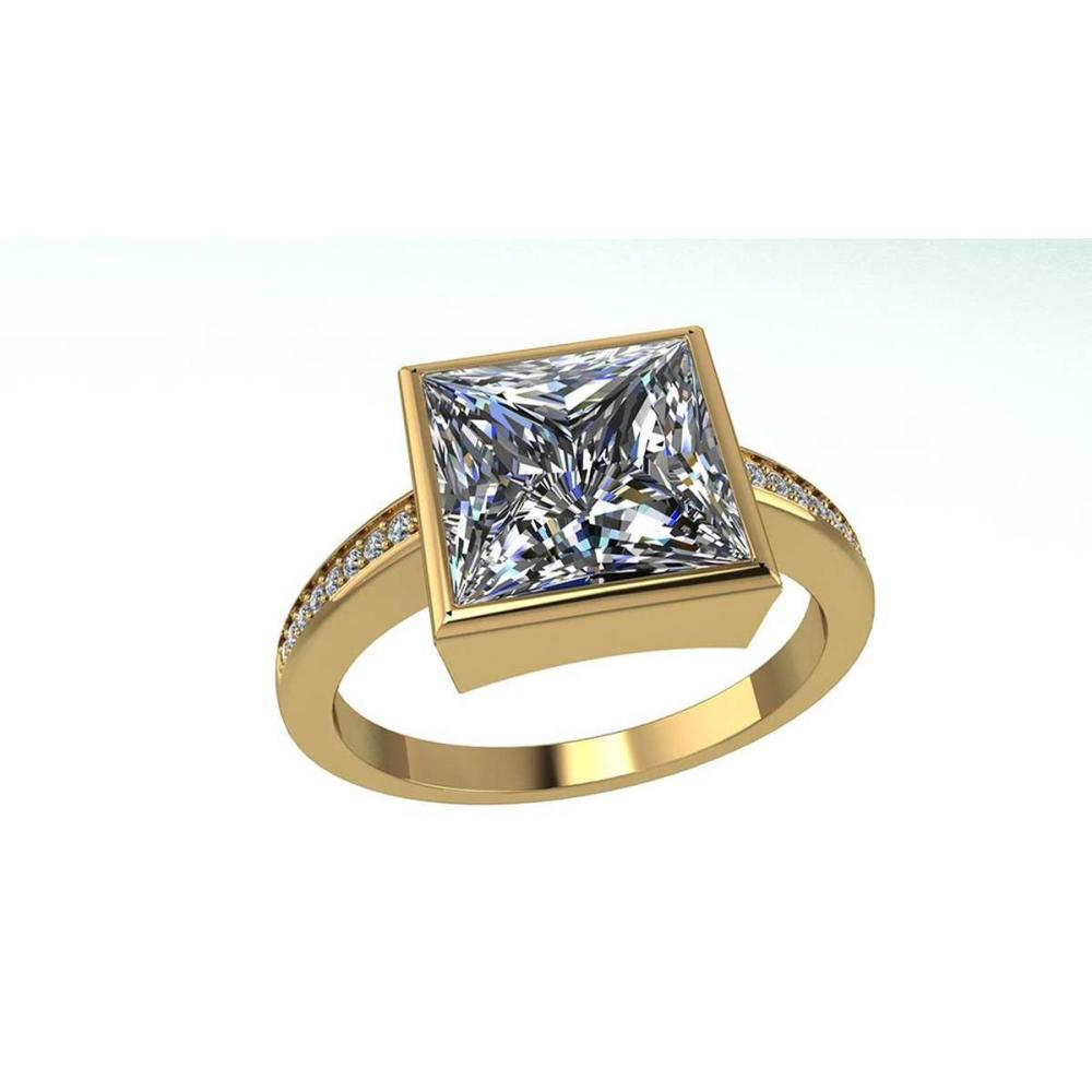 Certified 1.10 CTW Princess Diamond 14K Yellow Gold Ring #PAPPS91976