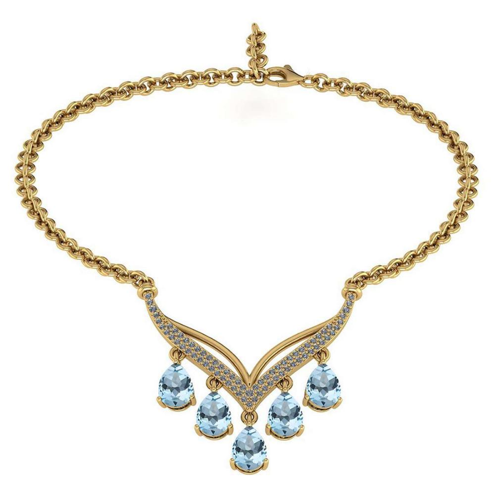 Certified 4.19 CTW Genuine Aquamarine And Diamond 14k Yellow Necklace #PAPPS93486