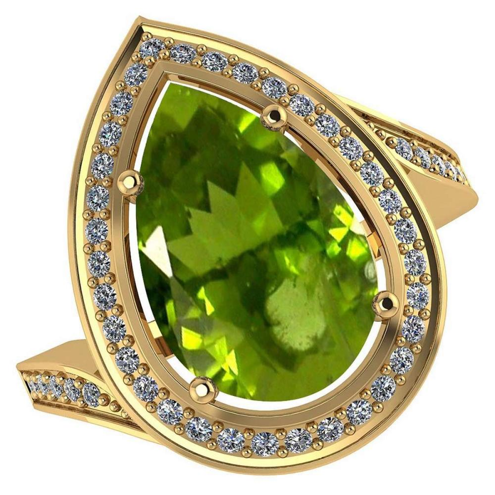 Certified 2.71 CTW Genuine Peridot And Diamond 14K Yellow Gold Ring #PAPPS91918