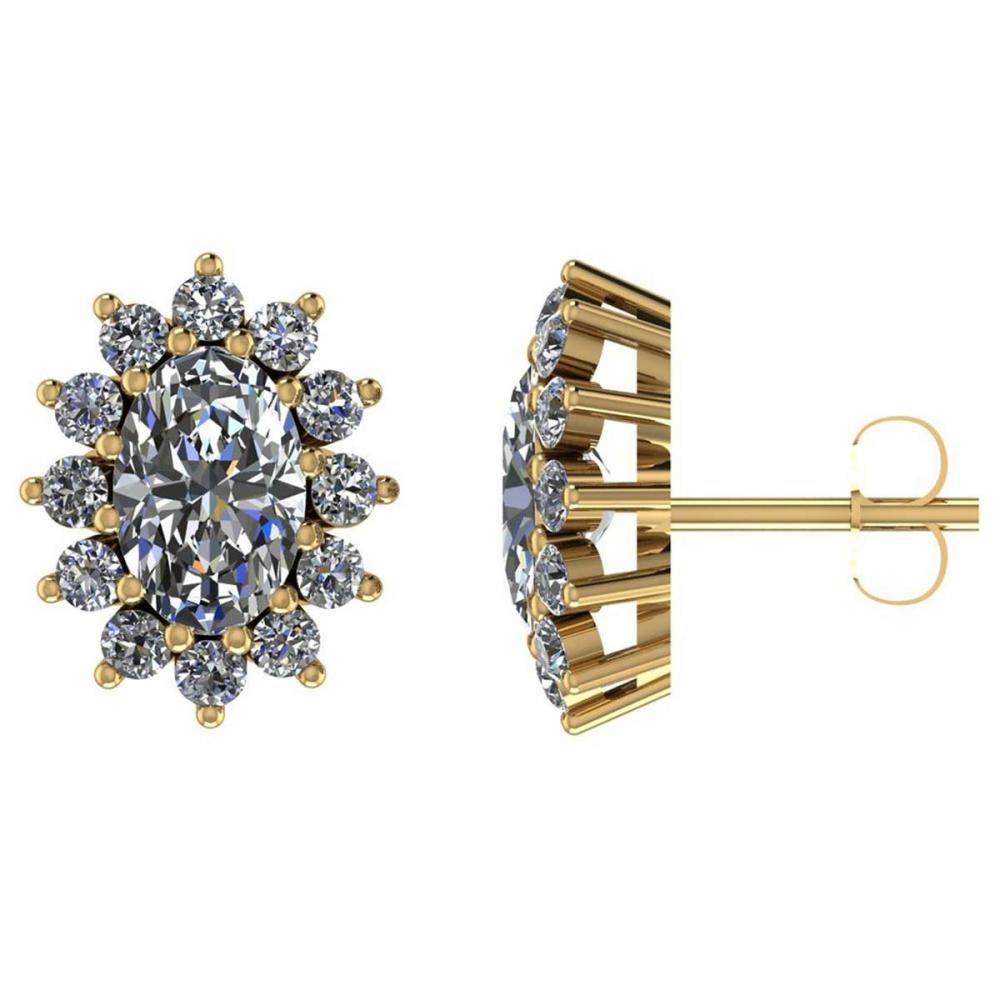 Certified 1.50 CTW Round Diamond 14K Yellow Gold Earring #PAPPS92103