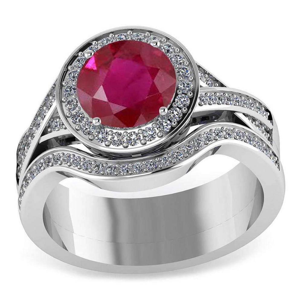 Certified 1.95 CTW Genuine Ruby And Diamond 14K White Gold Ring #PAPPS91435