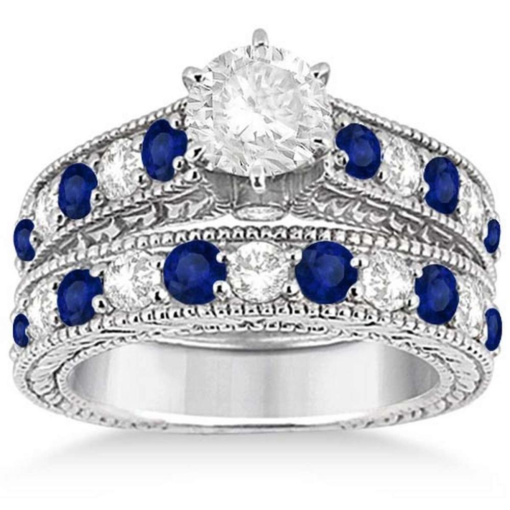 Antique Diamond and Sapphire Bridal Ring Set in Platinum (3.67ct)  #PAPPS20446