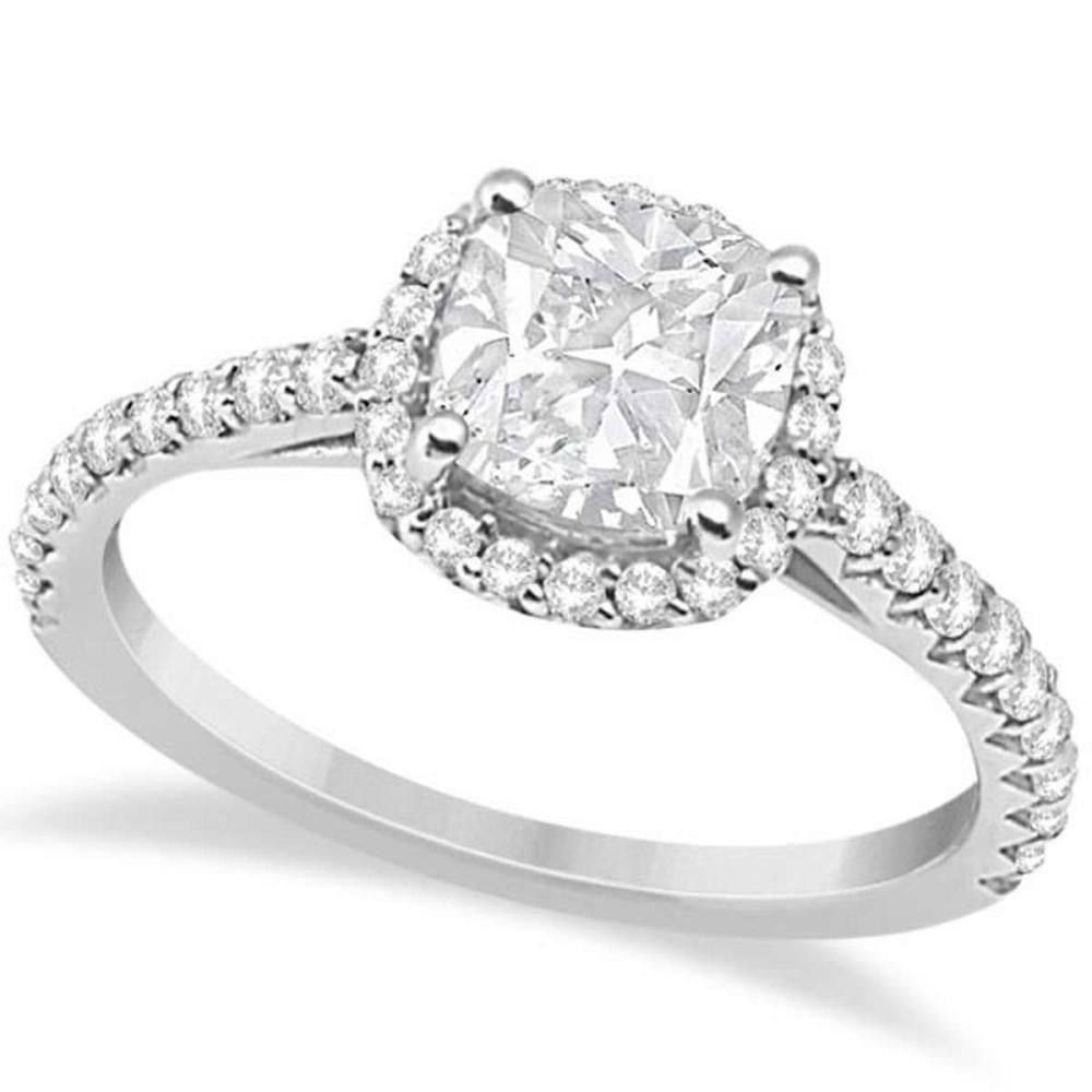 Halo Design Cushion Cut Diamond Engagement Ring 14K White Gold 0.88ct #PAPPS20465
