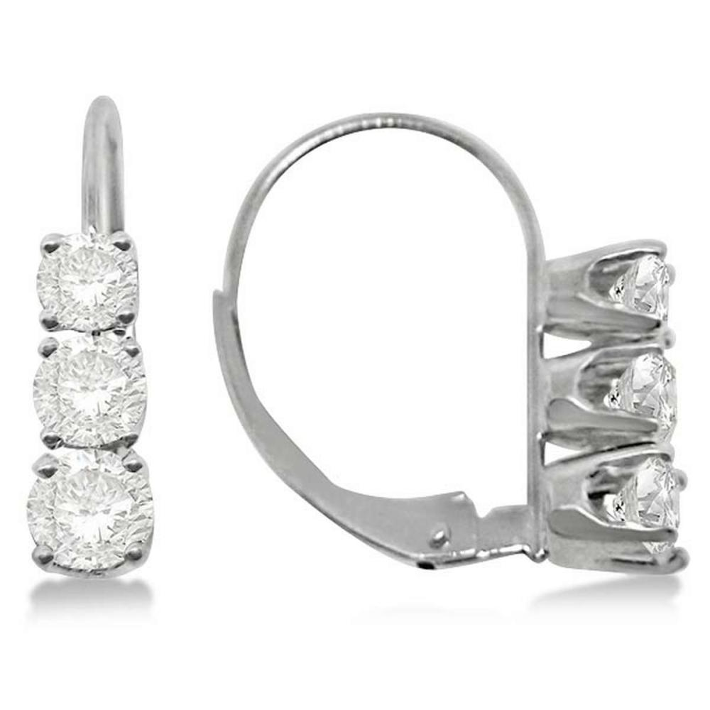 Three-Stone Leverback Diamond Earrings 14k White Gold (1.00ct) #PAPPS20439