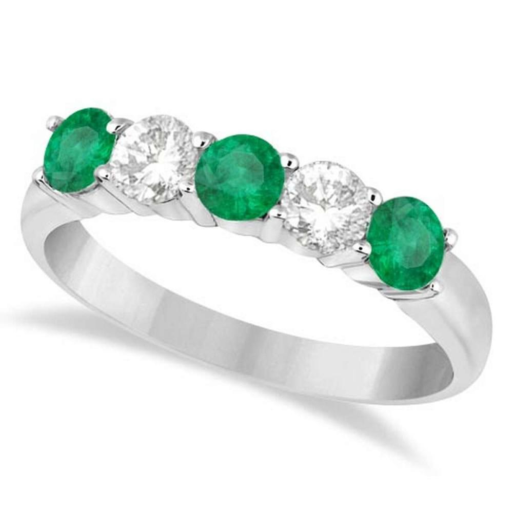 Five Stone Diamond and Emerald Ring 14k White Gold (1.08ctw) #PAPPS20817