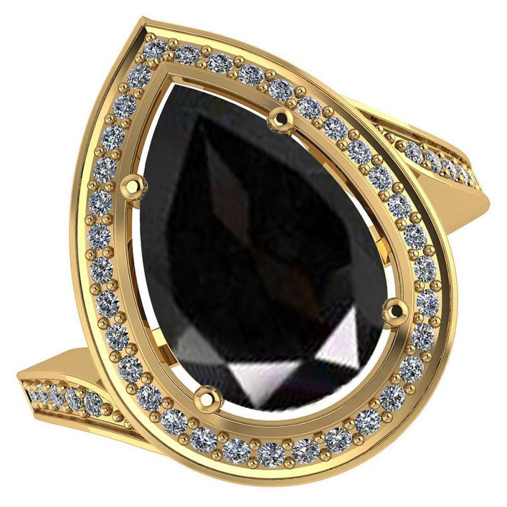 Certified 2.46 CTW Genuine Black Sapphire And Diamond 14K Yellow Gold Ring #PAPPS91915