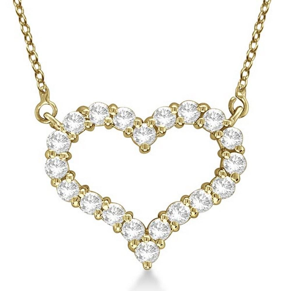 Open Heart Diamond Pendant Necklace 14k Yellow Gold 3.1