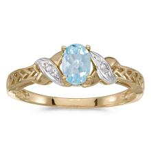 Certified 14k Yellow Gold Oval Aquamarine And Diamond Ring 0.3 CTW #PAPPS50905