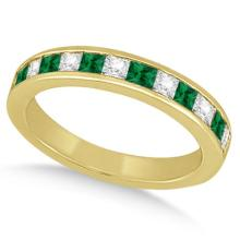 Channel Emerald and Diamond Wedding Ring 14k Yellow Gold (0.60ct) #PAPPS65438