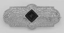 Art Deco Style Black Onyx and Diamond Pin / Brooch - Sterling Silver #PAPPS98101