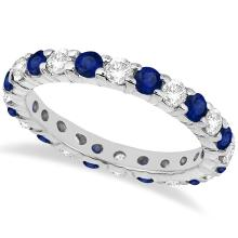 Eternity Diamond and Blue Sapphire Ring Band 14k White Gold (2.35ct) #PAPPS20391