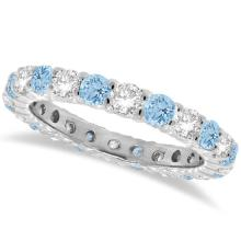 Aquamarine and Diamond Eternity Ring Band 14k White Gold (1.07ct) #PAPPS20453
