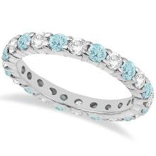 Eternity Diamond and Aquamarine Ring Band 14k White Gold (2.40ct) #PAPPS20456