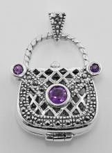 Sterling Silver Amethyst Purse Pendant / Pillbox #PAPPS97296