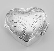 Beautiful Heart Shaped Sterling Silver Pillbox Etched Design #PAPPS97363