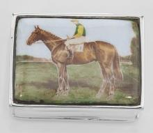 Jockey / Horse Sterling Silver Pillbox w/ Porcelain Top #PAPPS97367