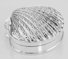 Antique Style Scallop Sea Shell Pillbox - Clamshell Box - Sterling Silver #PAPPS97385