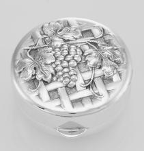 Sterling Silver Vine and Grapes on Trellis Design Pillbox - Made in USA #PAPPS98266