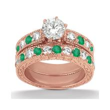 Antique Diamond and Emerald Bridal Set 18k Rose Gold (2.65ct) #PAPPS21063
