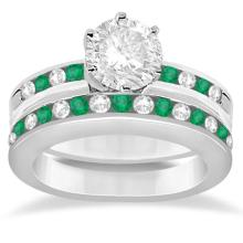 Semi-Eternity Emerald & Diamond Bridal Set Platinum (1.96ct)  #PAPPS20990
