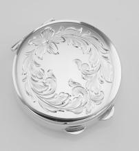 Antique Style Round Sterling Silver Pillbox Leaf Design - Made in USA #PAPPS98290