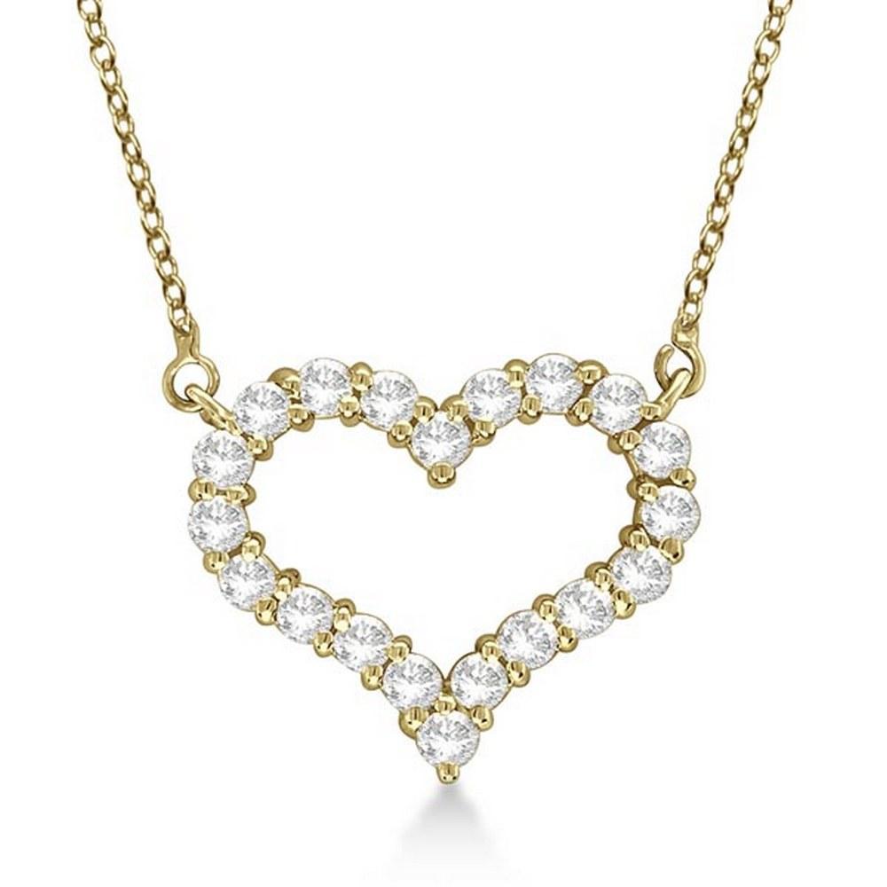 Open Heart Diamond Pendant Necklace 14k Yellow Gold 0.5