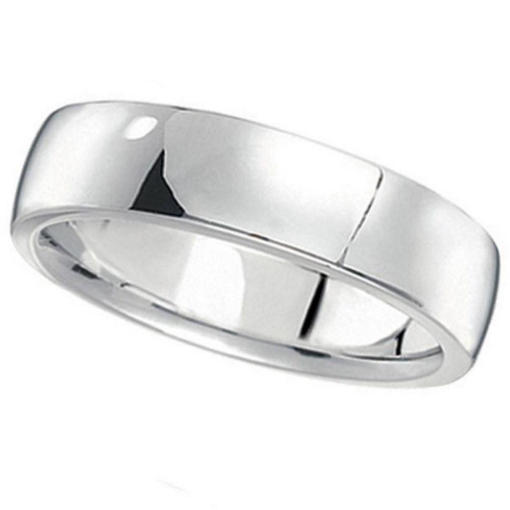 14k White Gold Wedding Ring Low Dome Comfort Fit 5 mm