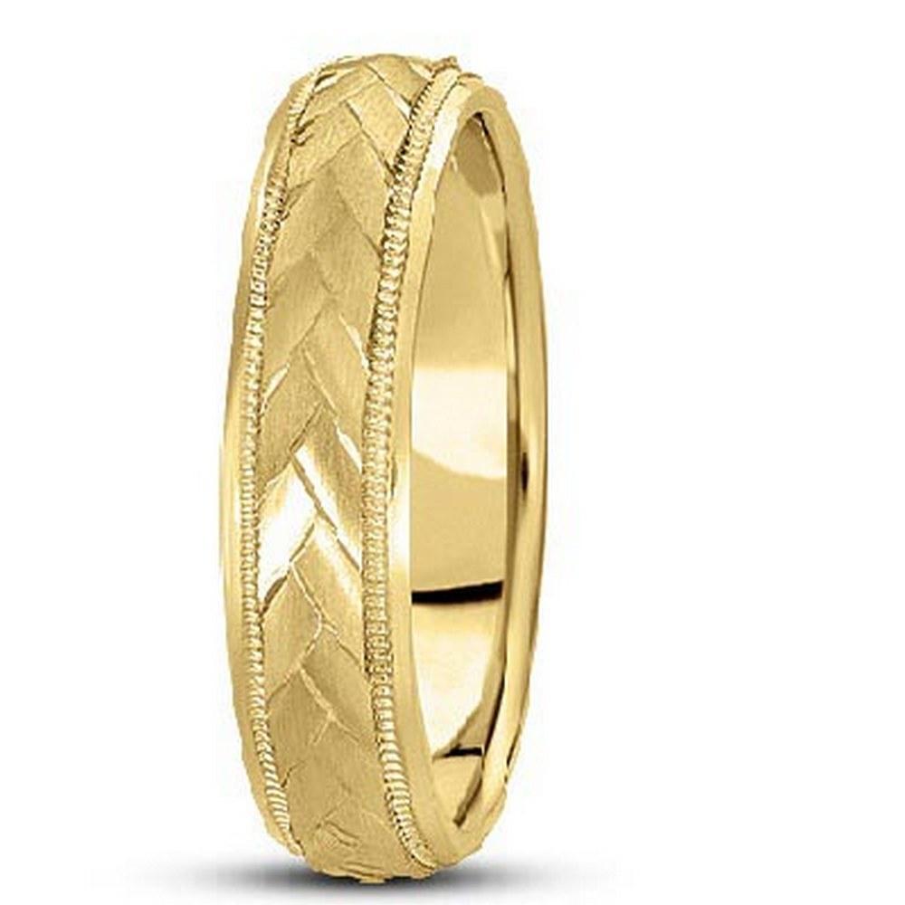 Braided Mens Wedding Ring Diamond Cut Band 14k Yellow G