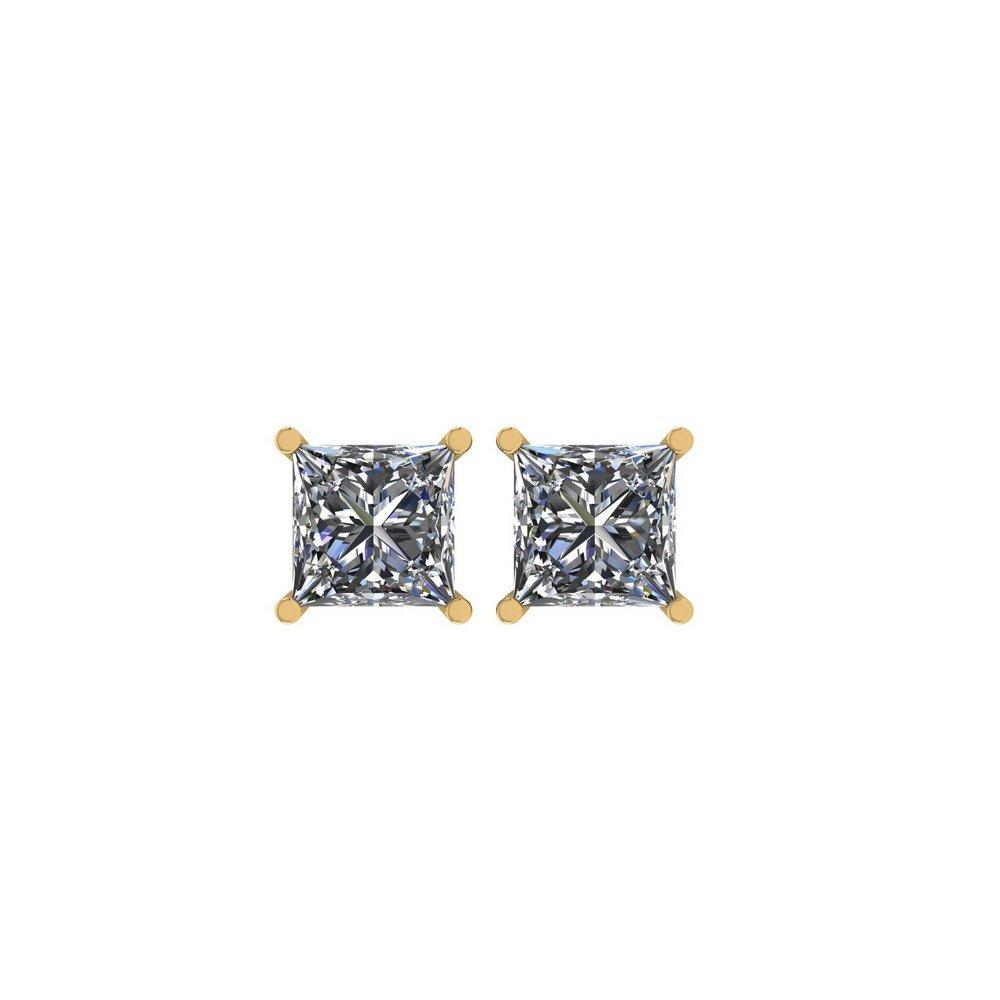 Certified 0.97 CTW Princess Diamond Stud Earrings H/SI1