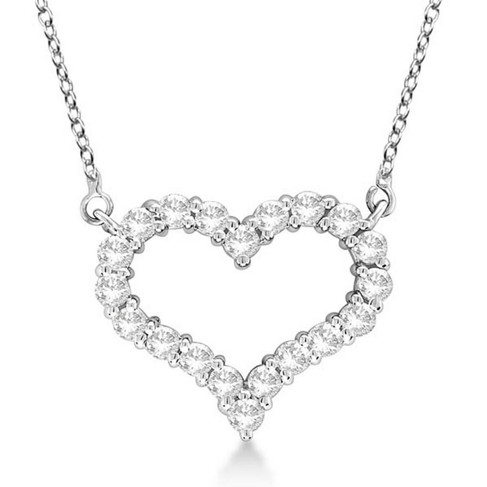 Open Heart Diamond Pendant Necklace 14k White Gold 1.00