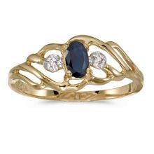 Certified 10k Yellow Gold Oval Sapphire And Diamond Ring 0.26 CTW #PAPPS51004