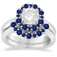 Halo Blue Sapphire Engagement Ring and Band 18K White Gold (1.08ct) #PAPPS66902