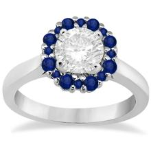 Prong Set Round Halo Blue Sapphire Engagement Ring Platinum (0.68ct) #PAPPS66898