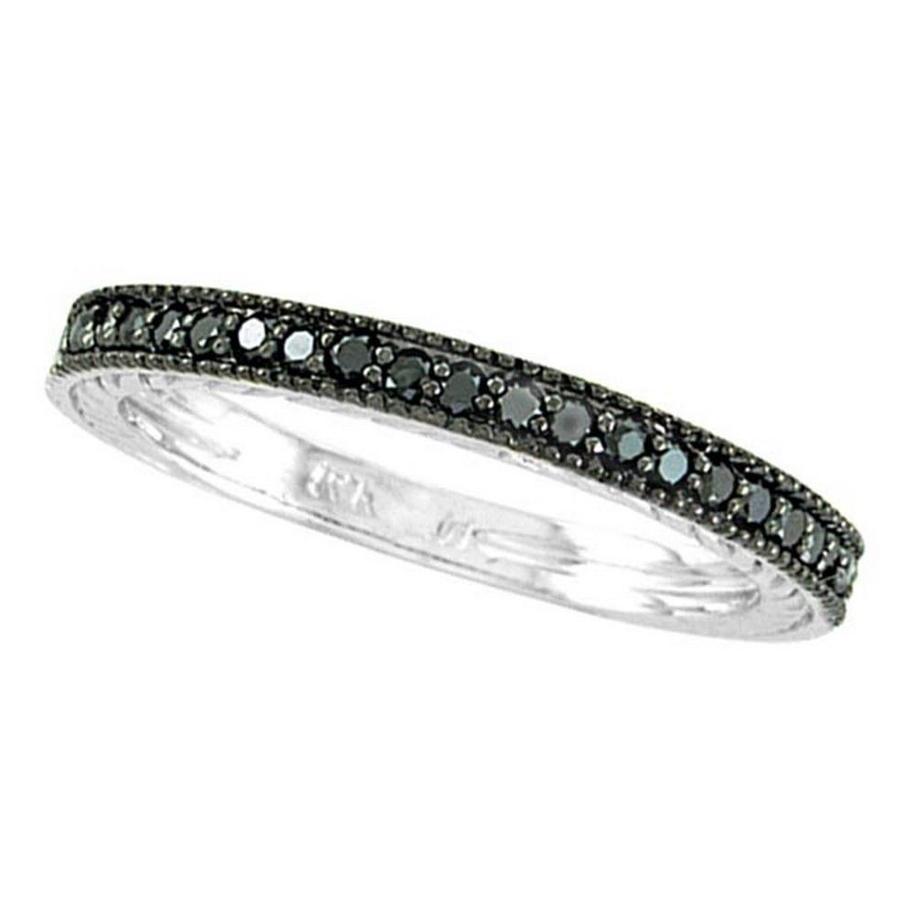 Black Diamond Stackable Ring Guard in 14K White Gold 1.