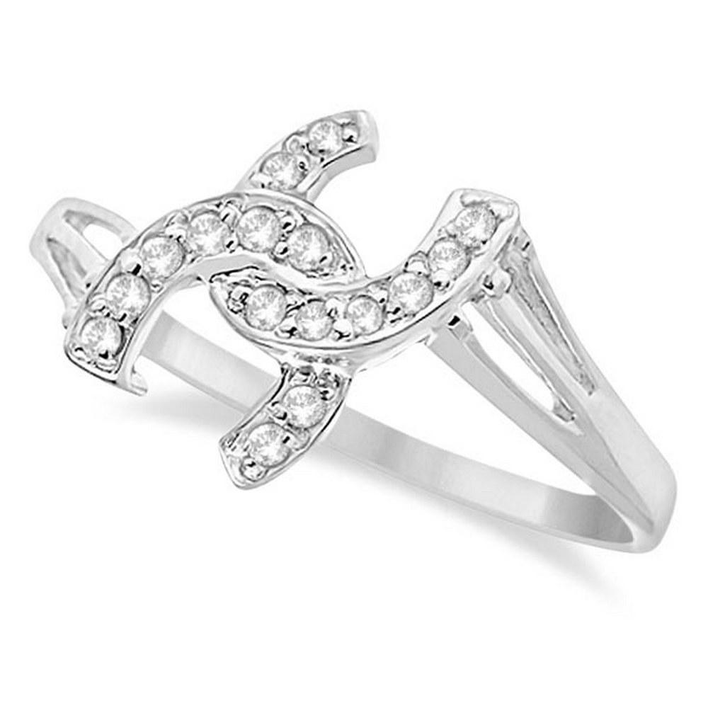 Double Horseshoe Diamond Ring in 14K White Gold 0.10ctw